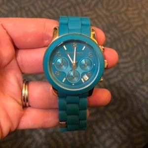 Michael Kors Turquoise Rubber Covered Gold Band